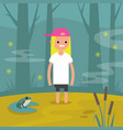 young female character stuck in the swamp flat vector image