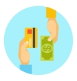 Hands exchanging payment or money in business vector image vector image