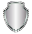Empty steel shield Blank metal badge with rivets vector image