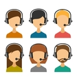 Call Center Operator with Headset Icon Set vector image