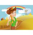 Farm girl vector image