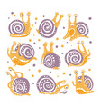 yellow snail with purple shell different poses set vector image