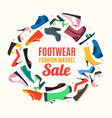 flat color woman shoes banner card vector image