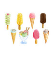 ice cream set with watercolor summer dessert vector image