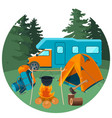 caravan in forest with picnic equipment vector image