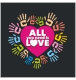 Colored handprints and pink heart - vector image