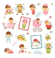 Colorful collection of adorable babies vector image vector image