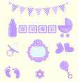 Baby girl set of design element for scrapbook and vector image