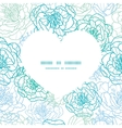 blue line art flowers heart silhouette pattern vector image