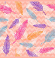 seamless colorful feathers pattern vector image