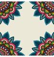Indian doodle floral corners frame vector image
