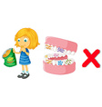 Girl eating chips and bacteria in mouth vector image