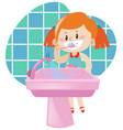 girl brushing teeth by herself vector image