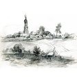 Hand-drawn rural landscape sketch vector image