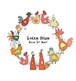 Hens and roosters in henhouse sketch for your vector image