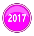 new year 2017 round glossy pink silver metallic vector image