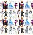 seamless design with fairytale characters vector image