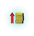 Stacks of coins with red arrow icon comics style vector image