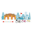 Vietnamese women with conical hat ride bicycles vector image