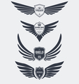 Wings and shields set vector image
