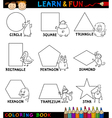 Basic Shapes with Animals for Coloring vector image vector image