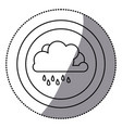sticker monochrome circular frame with cloud with vector image