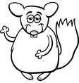 chinchilla cartoon coloring page vector image vector image