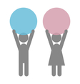 Man and woman icons pictograms with space for text vector image