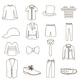 mens simple outline clothing icon set eps10 vector image
