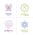 set of perfume and cosmetics logo design templates vector image