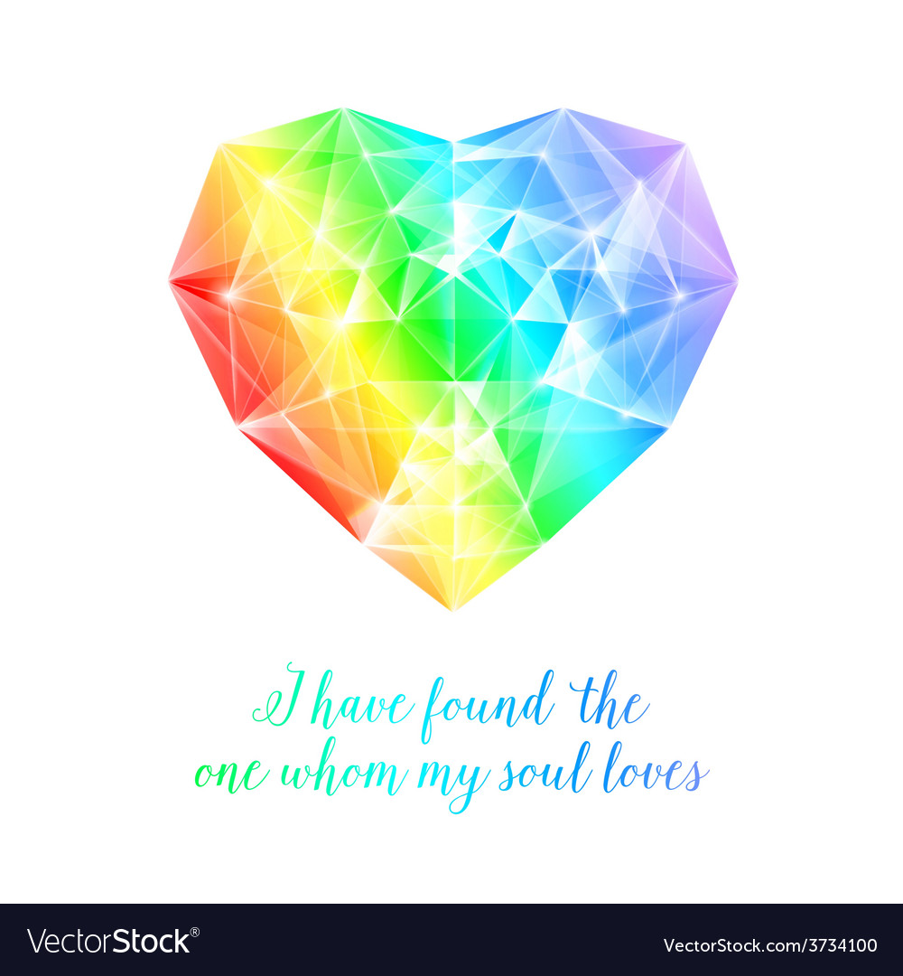 Rainbow stone heart vector