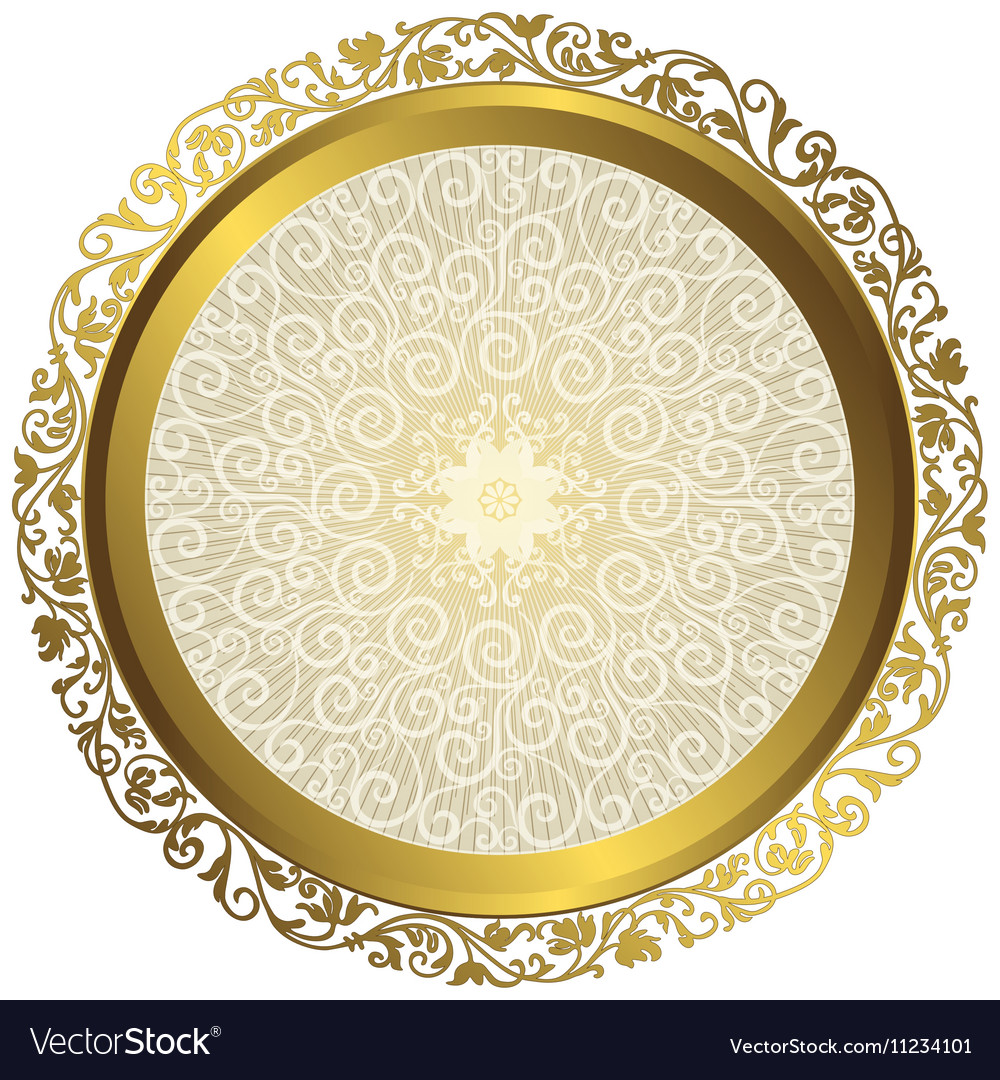 Gold and white vintage round isolated frame vector