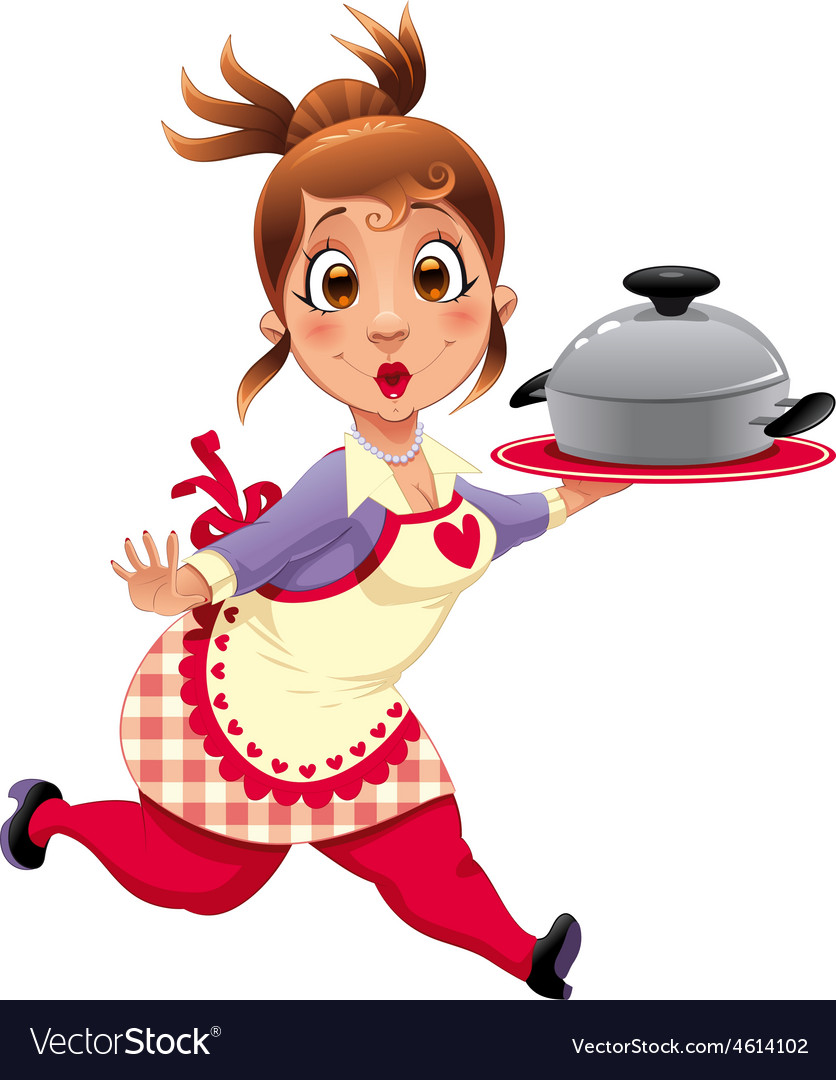 Housewife with pot vector