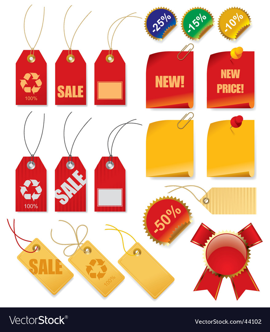 Set of price tags vector
