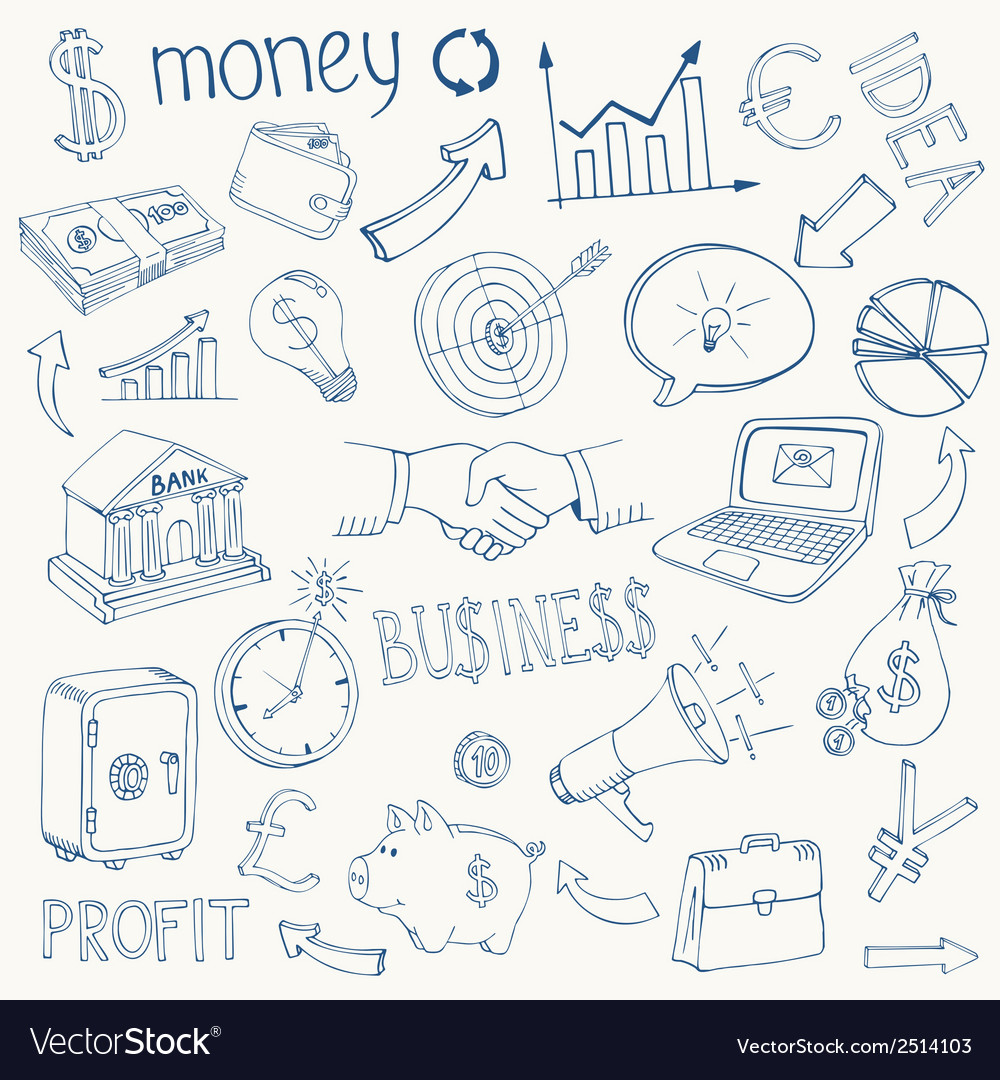 Set of business and money icons vector