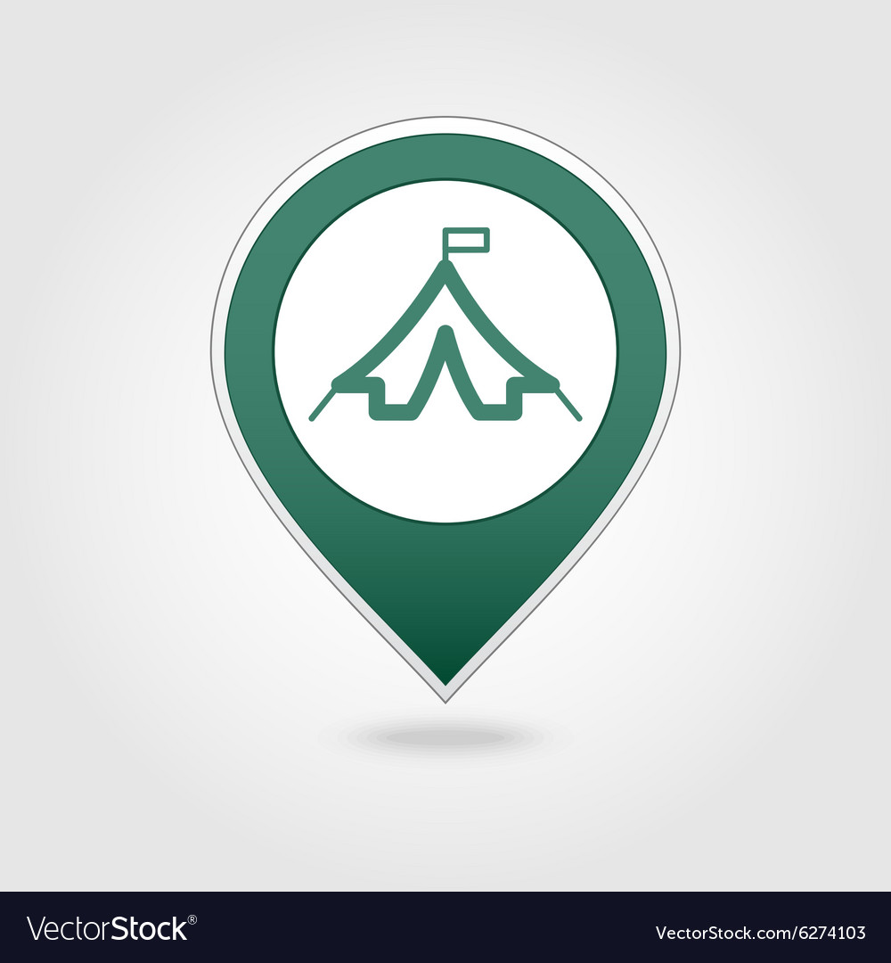 Tent map pin icon vector