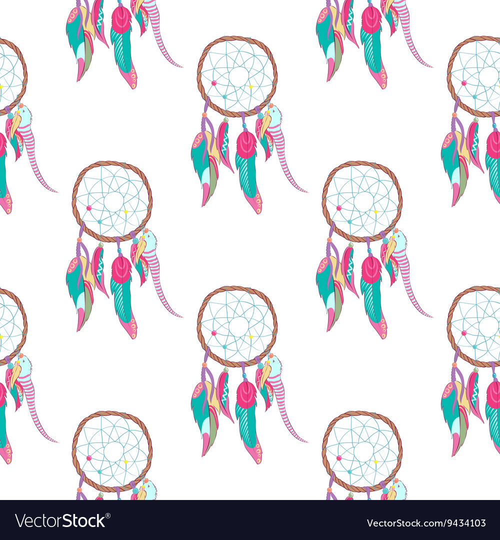 Traditional indian dreamcatcher seamless pattern vector