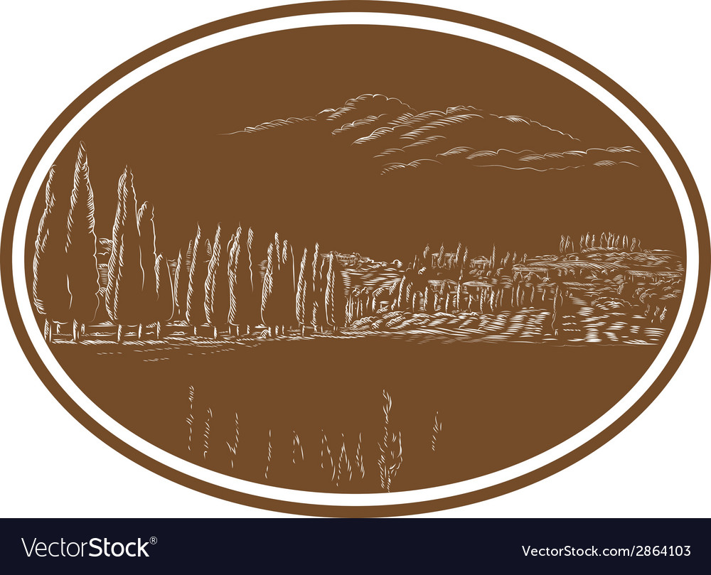 Tuscan landscape italy woodcut vector