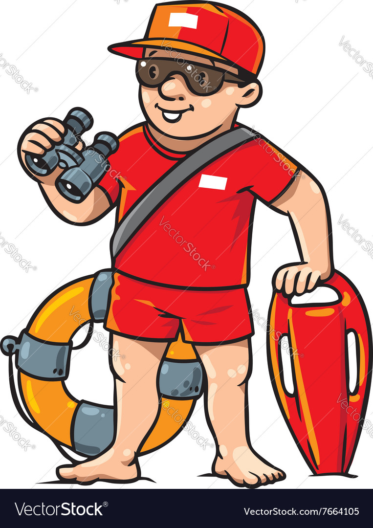 Funny lifeguard children vector