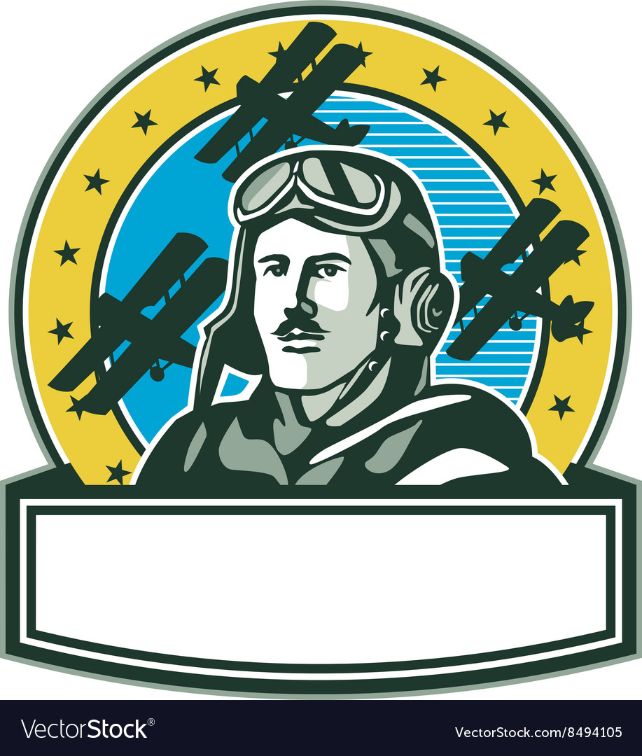 World war one pilot airman spad biplane circle vector