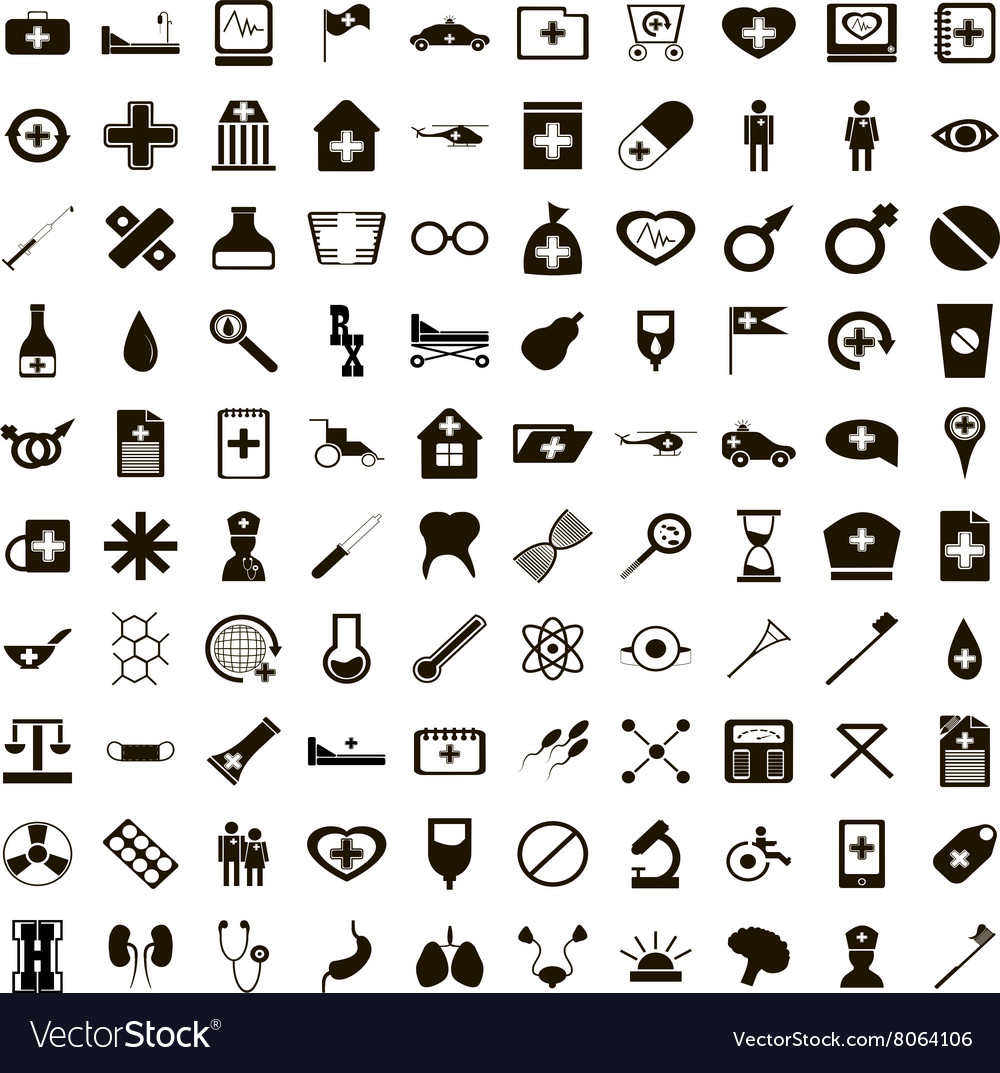 100 medicine icons set simple style vector