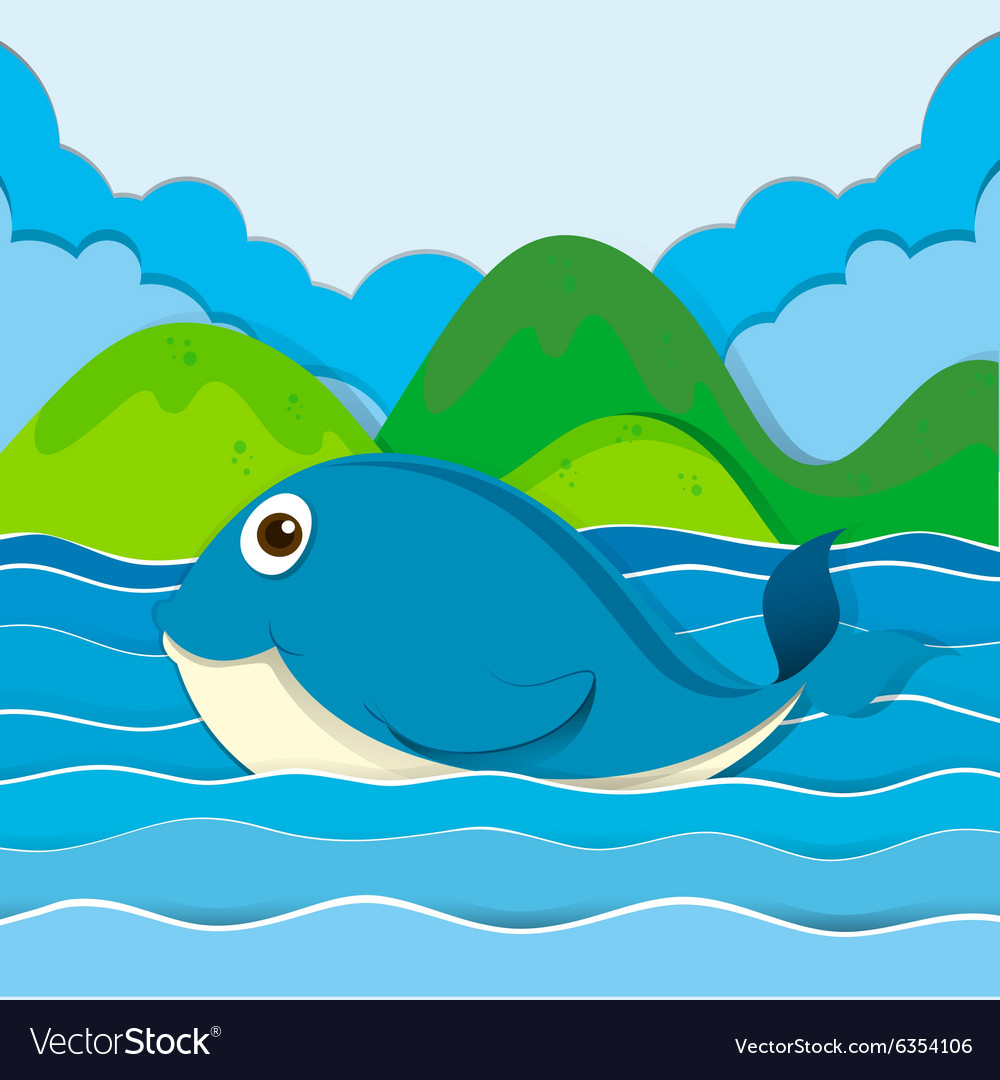 Blue whale swimming in the ocean vector
