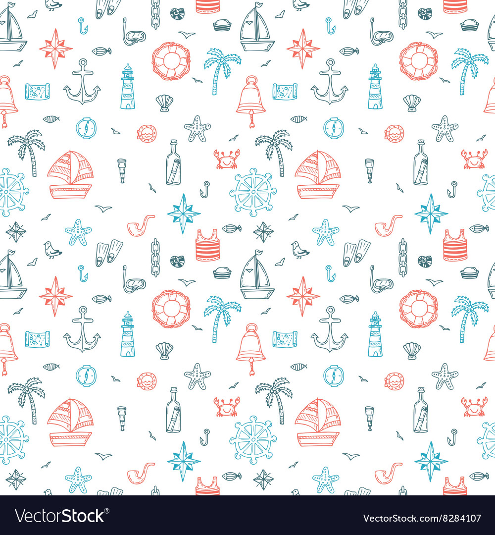 Hand drawn nautical seamless pattern of marine vector