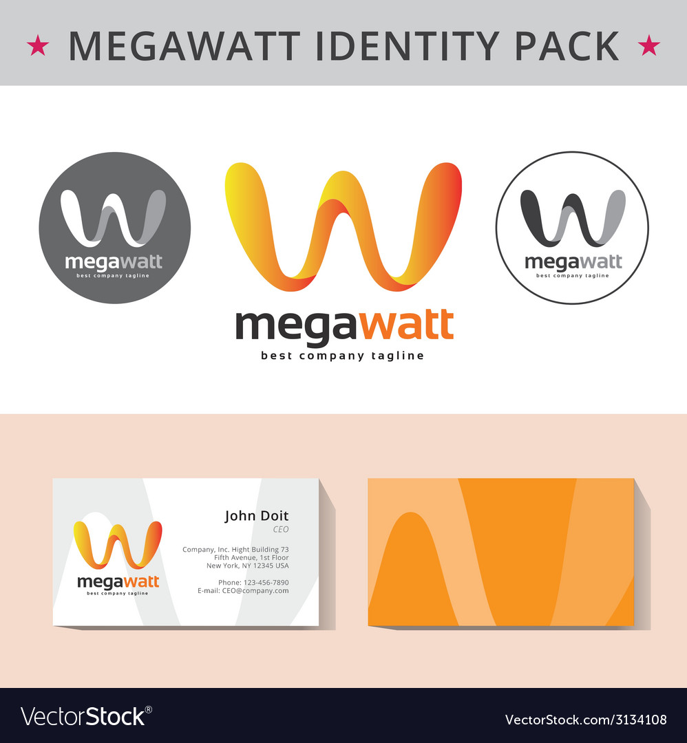 Abstract letter w identity pack concept logo visit vector