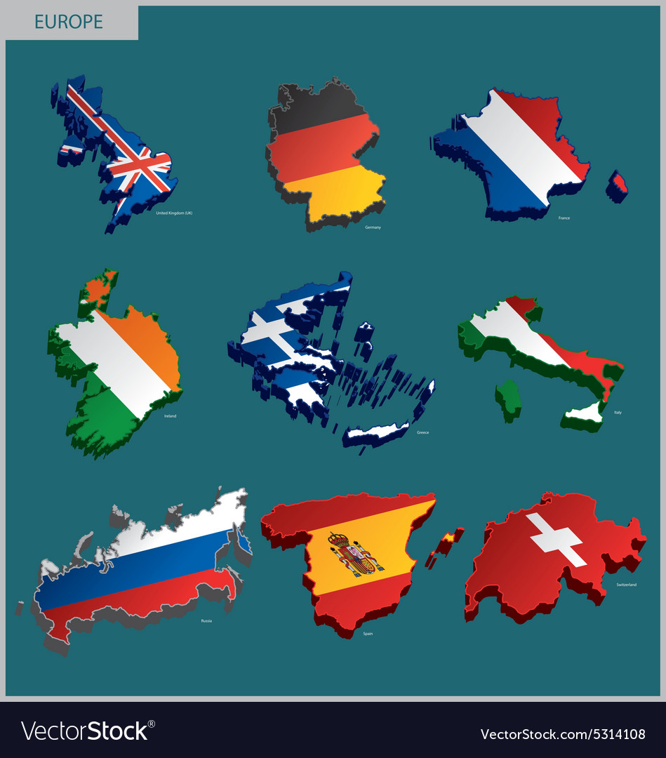 Countries terrain  europe vector