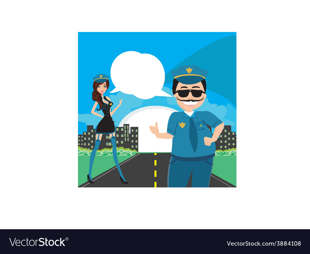 Policewoman and a policeman on duty vector