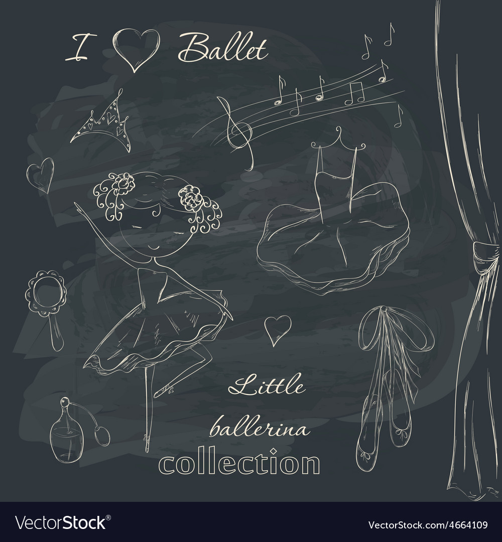 Ballerina and accessories vector