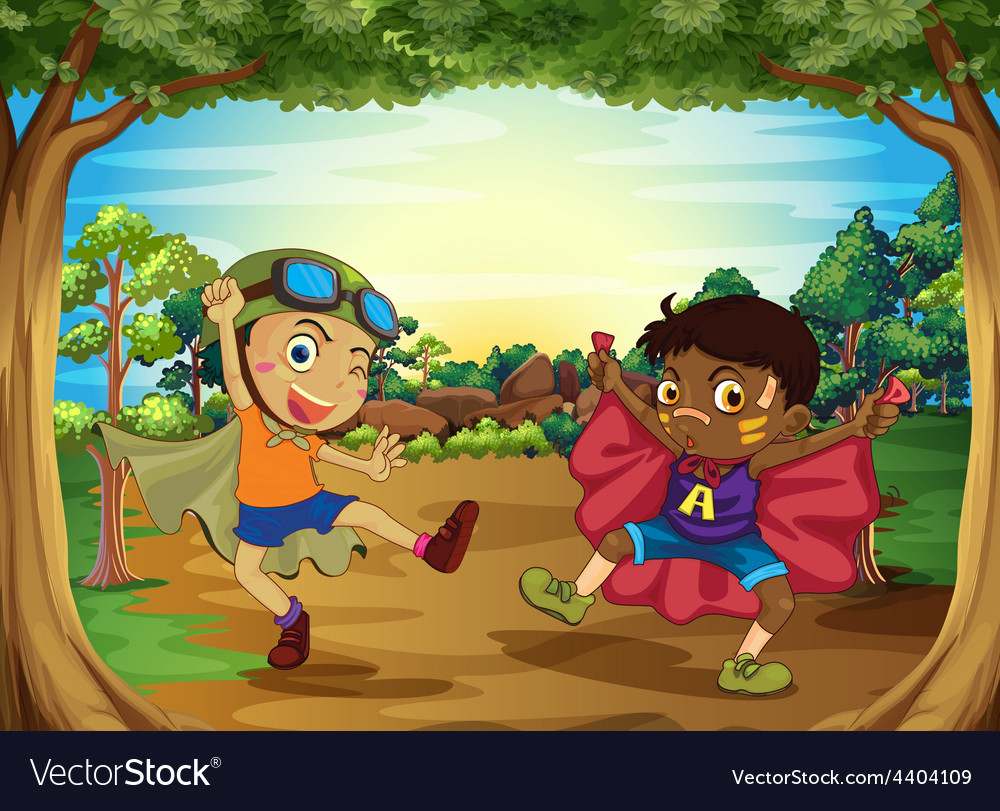 Children and forest vector