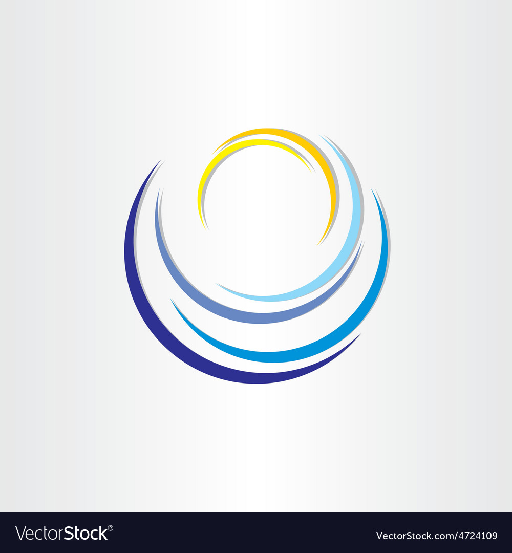 Water wave with sun tourism icon vector
