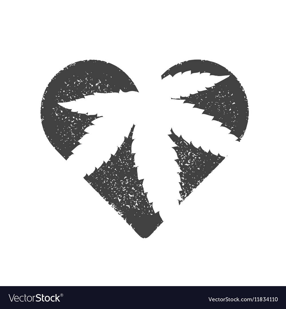 Heart symbol with cannabis leaf inside marijuana vector